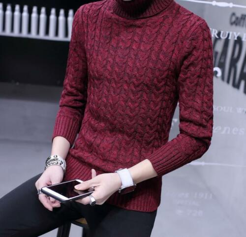 Men/'s Wool blend pullover Knitted Sweater Casual Turtleneck Pullover Tops new
