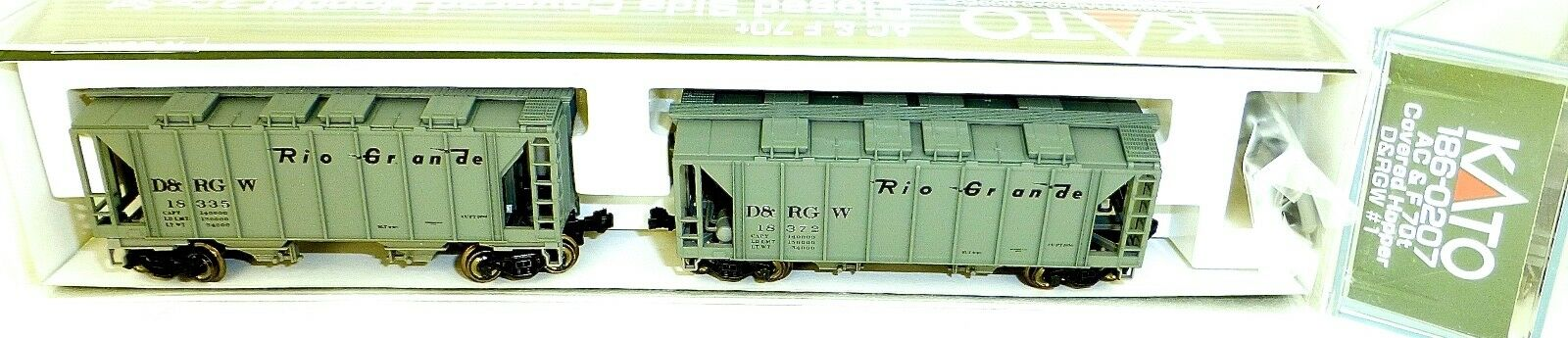 KATO 186-0207 AC&F 70t 2 Car D&RGW Closed Side Covered Hopper OVP N 1 160 HS5 å