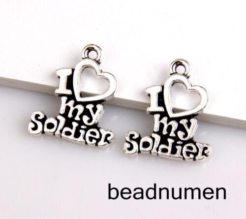 "18pcs Zinc alloy /""I love my Soldier/"" pendants 19x16mm 1A1705"