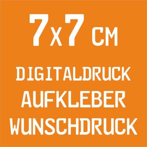 20 Stück 7x7cm Digitaldruck Aufkleber Wunschdruck drucken Folie Sticker Label