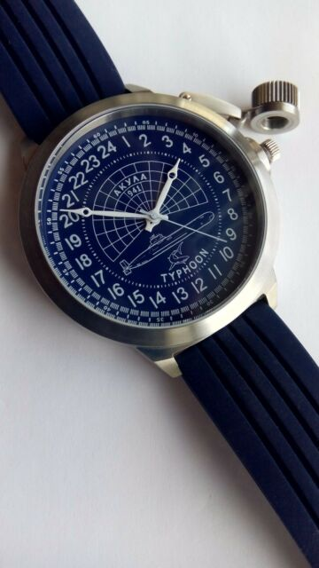 Russian 24-Hour Watch Submarine TYPHOON (Akula) Blue 52 mm