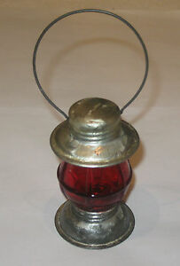 """Antique/Vintage Tin Toy Lantern Candy Containers - Red - """"Avor"""" - 3/4 OZ - 4"""" Ht"""