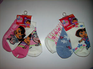 Dora-Socks-3-Pair-Pack-Girls-Size-6-8-Select-Boots-Ladybugs-Flowers-NIP