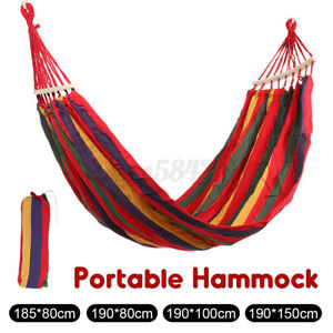 US Double 2 Person   Rope Hanging Hammock Swing Camping Canvas Bed w// Strap