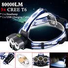 80000LM CREE Headlight 5x XM-L T6 LED Rechargeable 18650 USB Headlamp Head Light