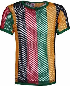 Men/'s Fishnet Club wear 100/% Cotton String Mesh Short Sleeve T-Shirt