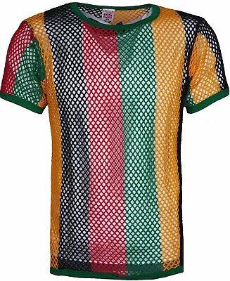 & Rasta Giamaica Rete Club Wear 100% Cotone Stringa Maglia Manica Corta T-shirt-mostra Il Titolo Originale