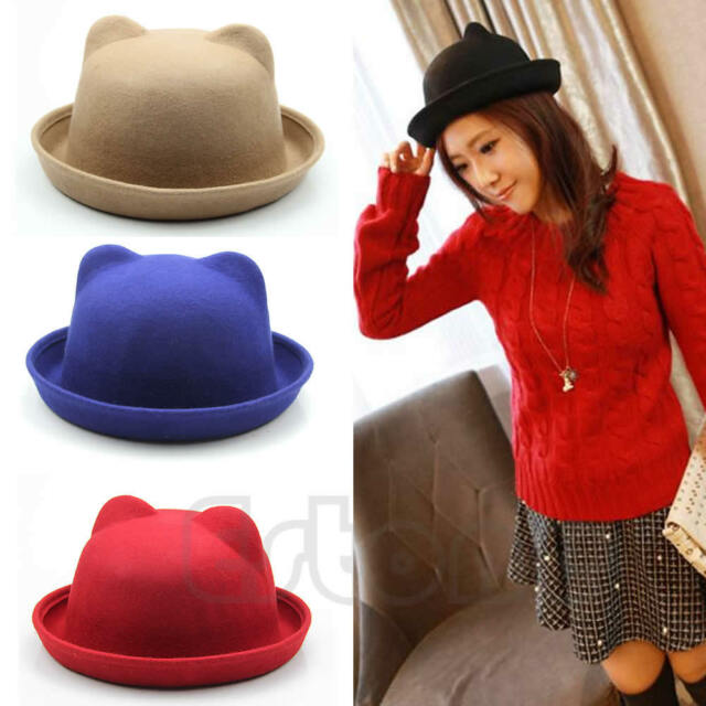 Fashion Unisex Wool Parent-Child Women Fedora Bowler Hats Ear Cap Derby Cat