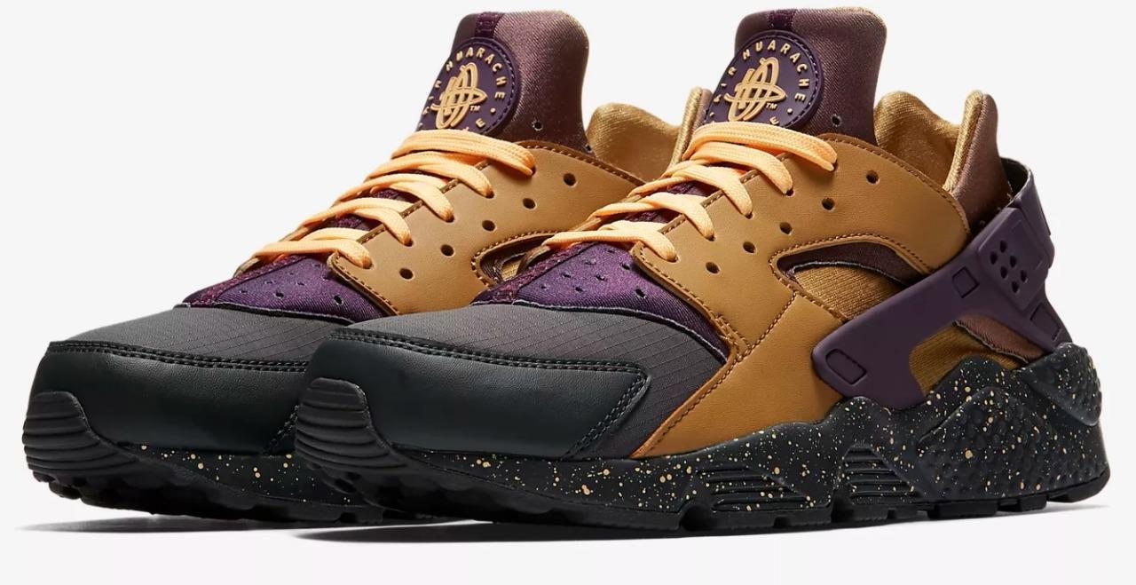 NIKE AIR HUARACHE RUN PREMIUM 704830 012 ANTHRACITE/PRO PURPLE/ELEMENT GOLD/TANG