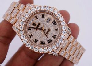 Details about Unused Rolex Day Date II 2 President Rose Gold 33 Carat  Diamonds Iced Out Video