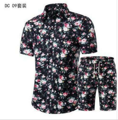2 Pcs Homme Imprimé Floral Manches courtes chemises pantalons Costume ensemble été 2019