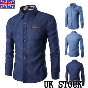 UK-Mens-Shirts-Long-Sleeve-Blosue-Button-Down-Denim-Jean-T-shirt-Work-Top-Size
