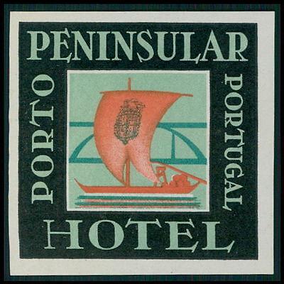 IMPERIAL Hotel old luggage label PORTO Portugal Wine Port Sail Boat