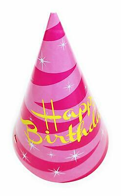 AEX 10 X Happy Birthday Paper Cone Shaped Party Hats Pink Spiral