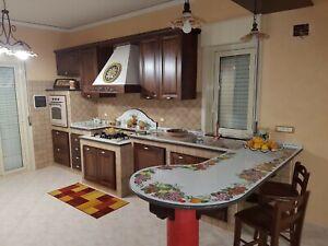 Dettagli su piano cucina in pietra lavica dipinto a mano.