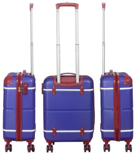 ABS valise de voyage trolley avec Coquille Retro Vintage Design Berlin Bleu-Rouge