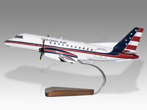 Saab 340 Colgan Air Solid Kiln Dried Mahogany Wood Handmade Desktop Model Aeronautica