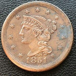 1851 Large Cent Braided Hair One Cent 1c High Grade XF - AU #28504
