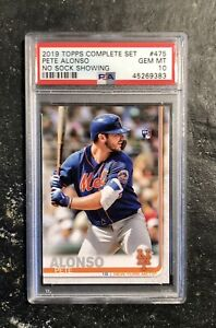 2019 Topps Complete Set No Sock #475 Pete Alonso RC Rookie PSA 10 Gem Mint Mets