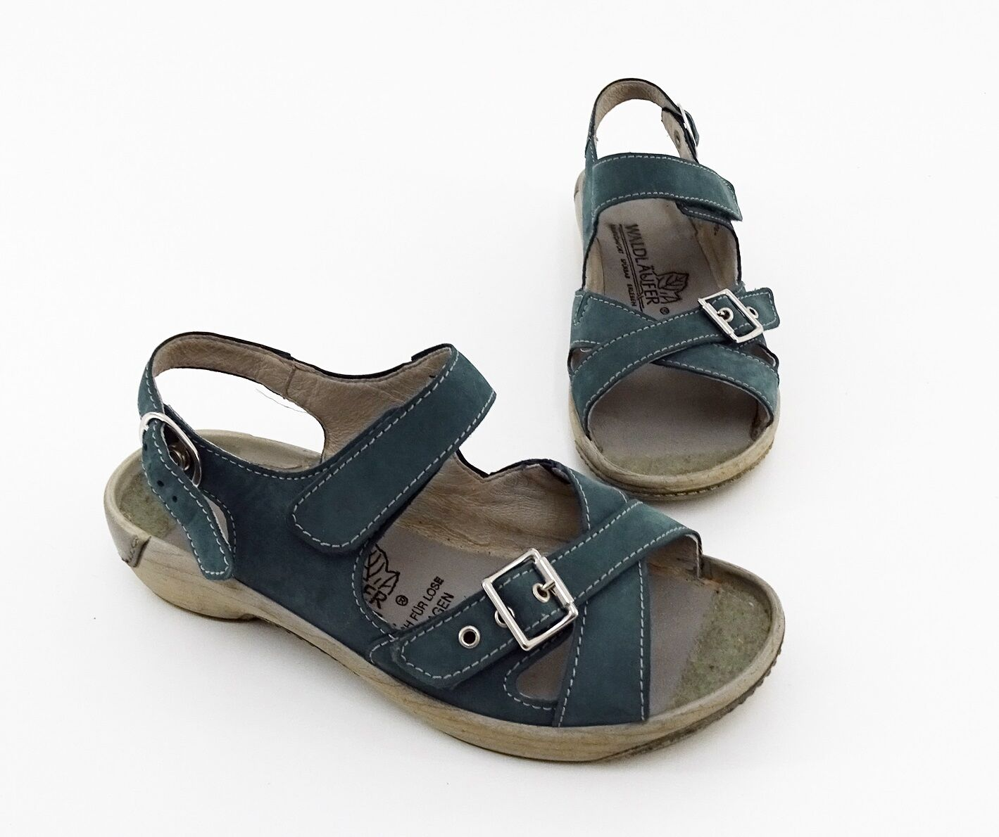 Confort sandalias bosque alfil velcro cuero genuino azul azul azul Gr. 4,5 = 37,5 H  mejor calidad