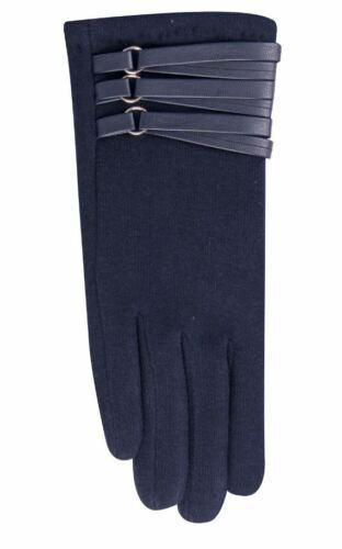 Femmes Hiver Automne Jersey Gants Avec Sangles En Cuir écran Tactile