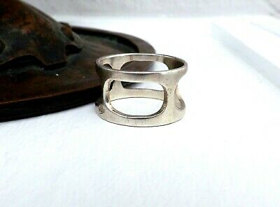 Mixed Metals-Bold Geometric Form 1980s Mexican Modernist Ring Size 9