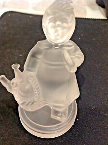 Frosted Crystal M J Hummel Figurine Girl Home From Market by Goebel VINTAGE