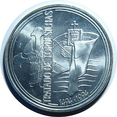 PORTUGAL 1000 ESCUDOS TREATY OF TORDESILHAS 1994 SILVER KM 675