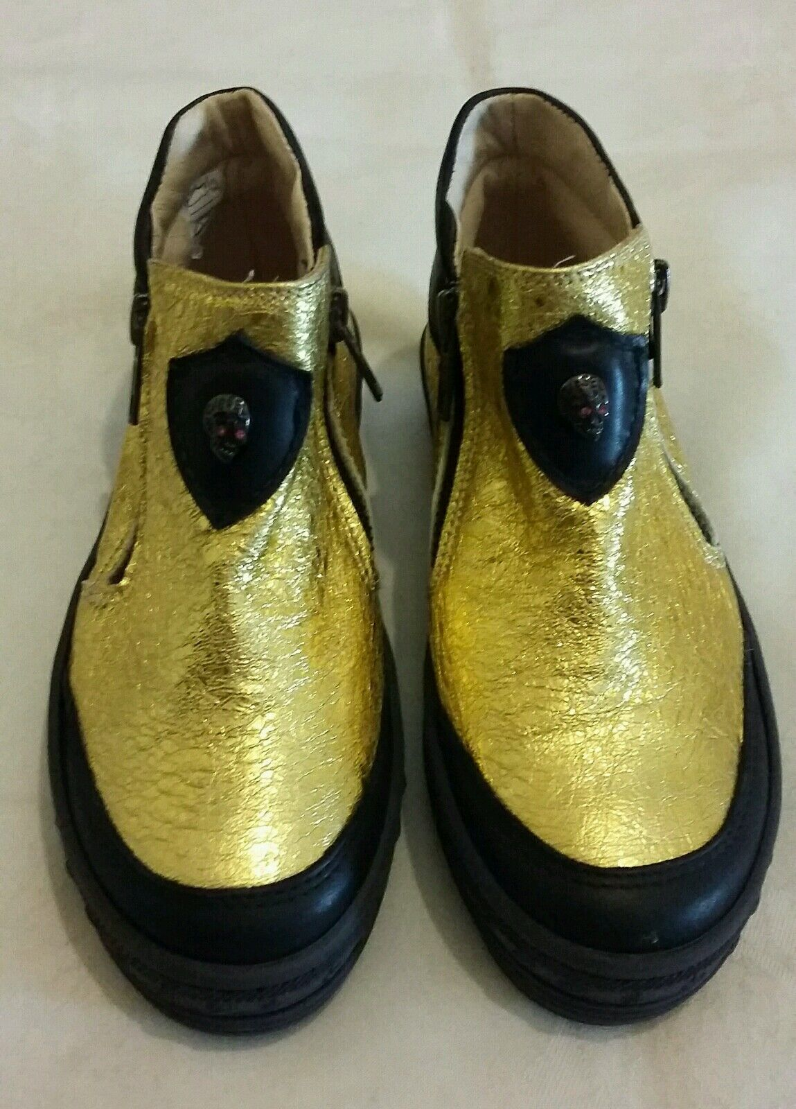 DIESEL Metallic gold Leather Kids shoes Boots Size uk 12.5 eu 31 Made in italy