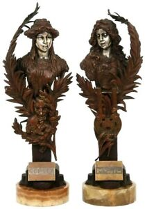 CARL-KAUBA-AUSTRIAN-1865-1922-PAIR-OF-BRONZE-FIGURAL-FEMALE-BUSTS