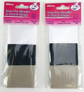 Iron On Mender And Patch Strips 1.5 Inch X 19.7 Inch White Khaki Black By Allary