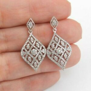 Art-Deco-Drop-Dangle-Earrings-2-Ct-Round-Cut-Diamond-14k-White-Gold-Finish