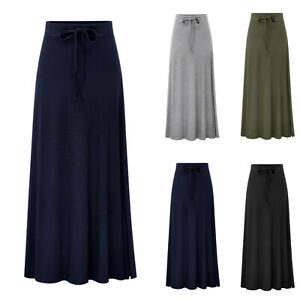 Details about Women Stretchy Long Maxi Skirt Ladies Summer Flared High  Waisted Dress Plus Size