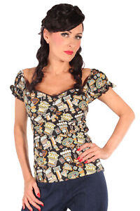 50er Jahre Flamingo rockabilly Carmen Puffärmel Shirt retro TOP weiß