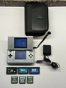 Nintendo DS Original - Titanium Silver 3 DS & 3 GBA Games Case & Charger Bundle!