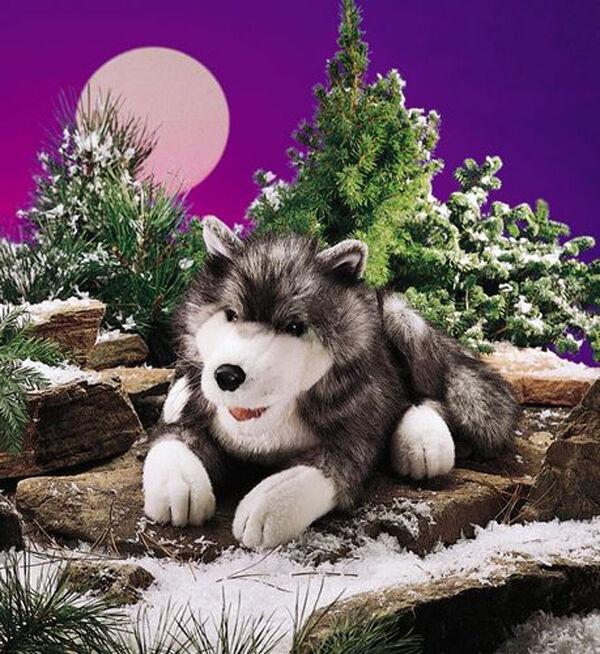 NYA PLUSH mjuk leksak Folkmanis 2171 Timber Wolf Timberwolf Hel Body Hand Puppet