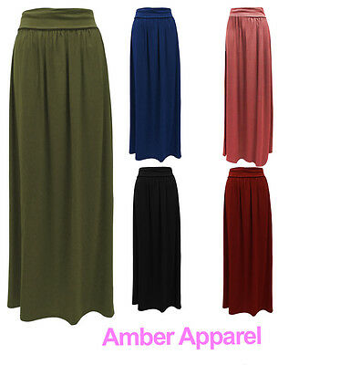 NEW LADIES WOMENS LONG JERSEY MAXI SKIRT SIZES 8-14