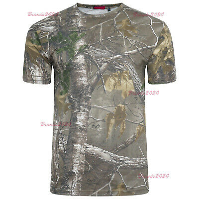 HUNTERS T-SHIRT Mens big sizes S-8XL oak tree camo cotton fishing hunting top