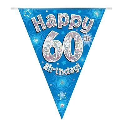 Blue Stars Olografico Felice 60th Compleanno Bandiera Striscione Di Bandierine | | Decorazione-mostra Il Titolo Originale