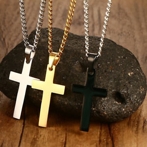 Gold-Silver-Blue-Stainless-Steel-Cross-Men-039-s-Necklace-Pendant-Necklace