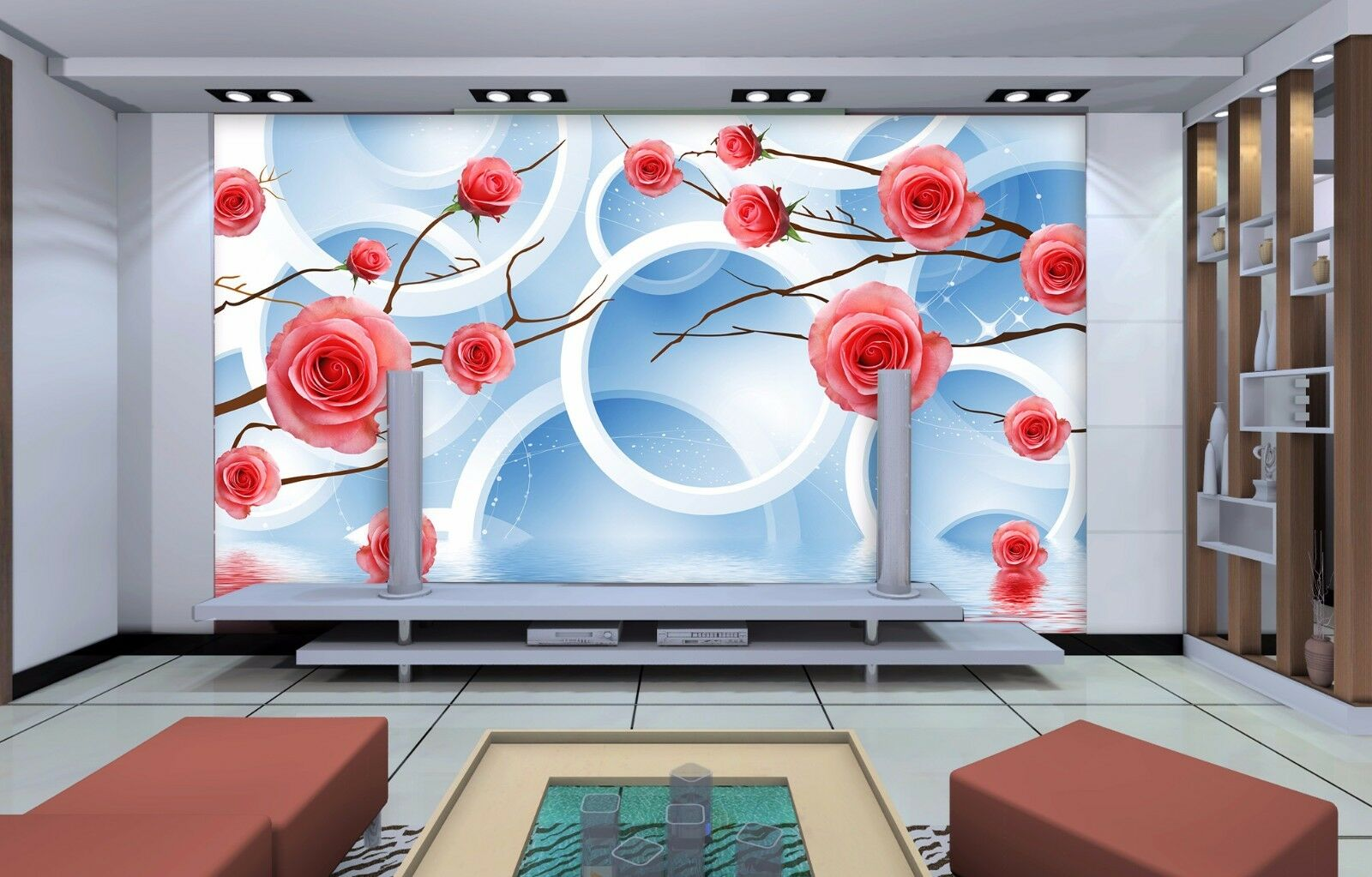 3D Rose, lake 567 Wall Paper Print Wall Decal Deco Indoor Wall Murals