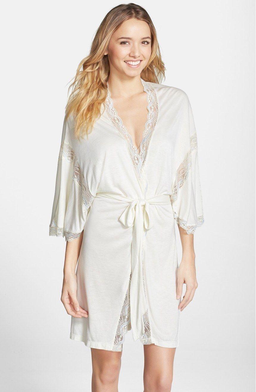Eberjey Lace Trim Jersey Kimono Robe Ivory L