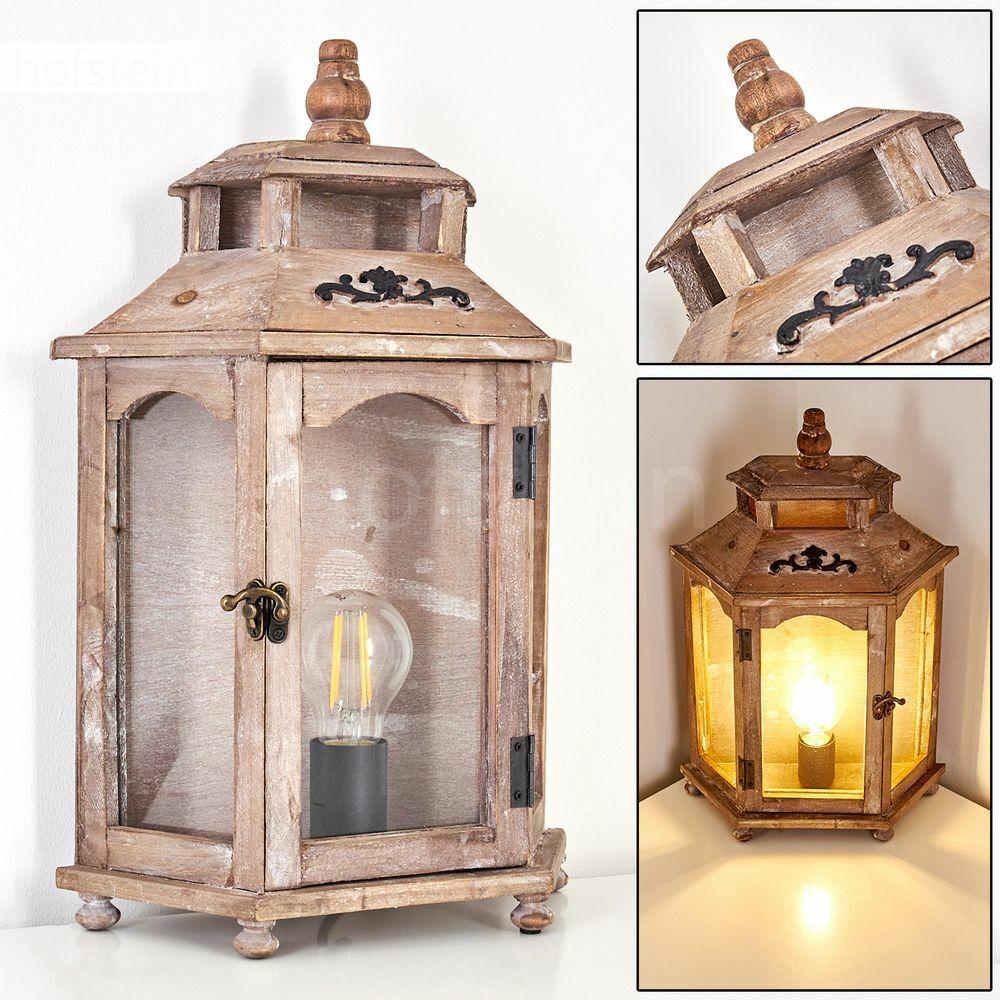 Glas Nacht Tisch Lampe Lese Leuchte Vintage Holz Wohn Schlaf Zimmer Beleuchtung