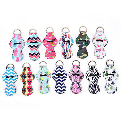 Neoprene Floral Waterproof Lipstick Chapstick Lip Balm Holder Bag Key Chain/_cD
