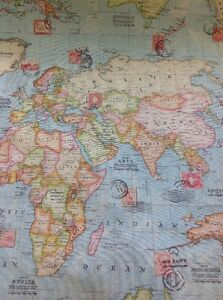 World map atlas 100 panama cotton linen look fabric by the metre ebay image is loading world map atlas 100 panama cotton linen look gumiabroncs Images