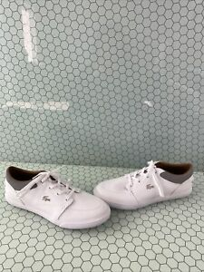 Lacoste BAYLISS White Leather Lace Up Low Top Fashion Sneakers Men's Size 12