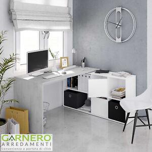 Dettagli su Scrivania ufficio CORNER scrittoio moderno angolare ufficio con  vani
