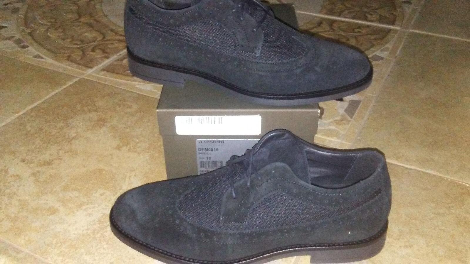 marchi di stilisti economici NEW  380 Uomo A. Testoni Testoni Testoni Diffusion Suede and Nylon Oxford scarpe, Dimensione 10 D  ordina ora goditi un grande sconto