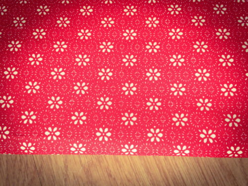Flowers on Red Shabby Chic 100/% Cotton Fabric 140x60cm