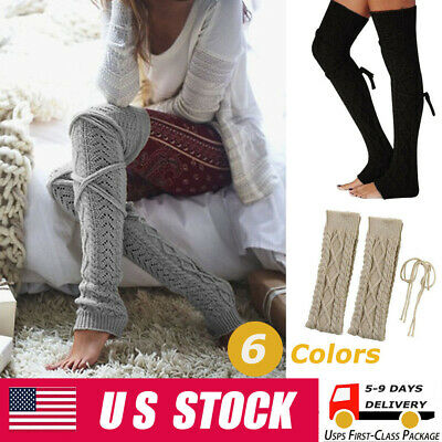 New Women Girls Cable Knit Long Boot Socks Over Knee Thigh High Warm Stocking